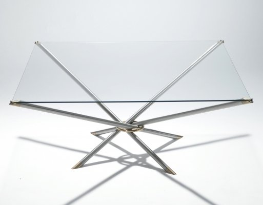 French Hollywood Regency metal & brass coffee table, 1970s