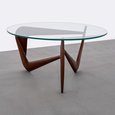Sculptural Louis Sognot coffee table with glass top, 1960s