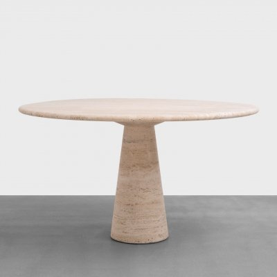 Round 'Skipper' Travertin Dining Table by Angelo Mangiarotti, 1970s