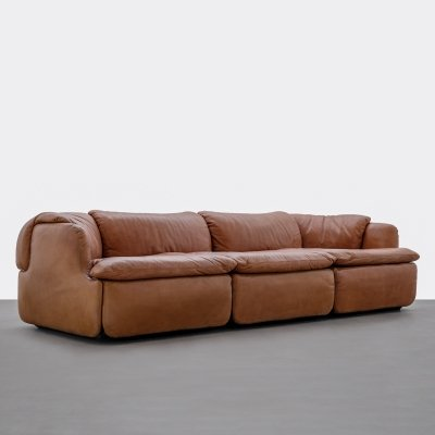 Leather 'Confidential' sofa by Alberto Roselli for Saporiti, Italy 1970s