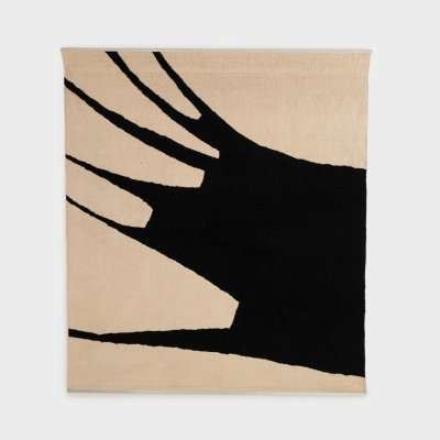 Black & White Abstract Wool Wall Tapestry by Jan van den Bergh, 1977