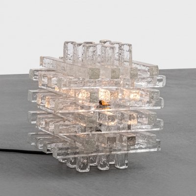 Sculptural Murano Glass Cube Table lamp by Poliarte, 1960s