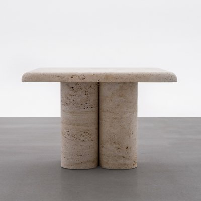 Sculptural Travertine Side Table, 1970s