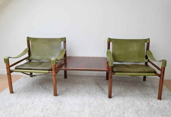 Arne Norell 'Sirocco' Rosewood safari easy chairs & matching suspended table