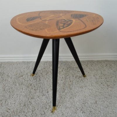 H. Sundling Model '435' shaped side table with exotic timber inlays, 1950's
