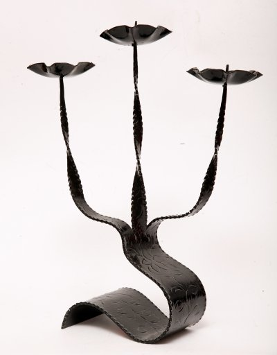 Modernist Metal Candle Holder, Poland 1970s