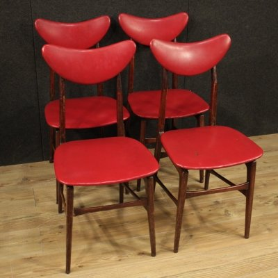 20th Century Red Faux Leather & Fruitwood Italian Design Chairs, 1970