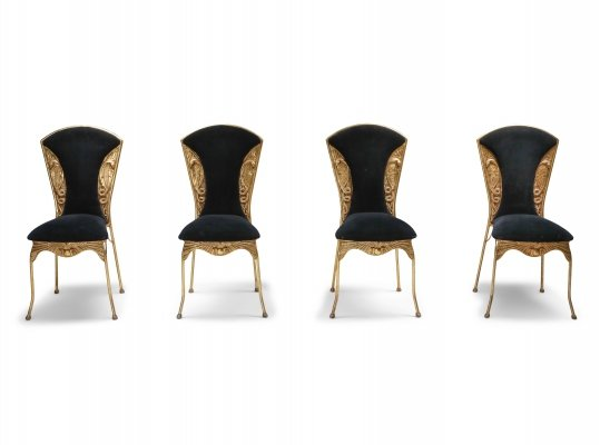 Gilt metal Cleopatra dining chairs, 1970's