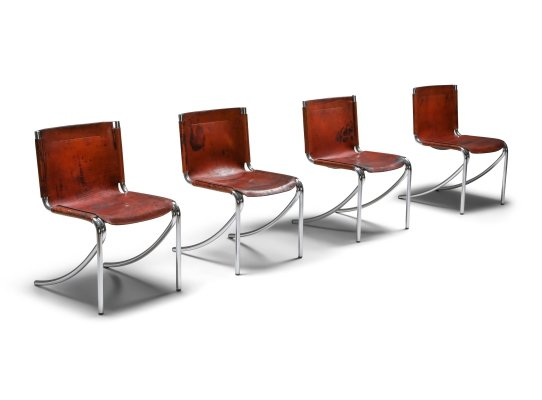 Giotto Stoppino Leather & Chrome 'Jot' Dining Chairs, 1970's