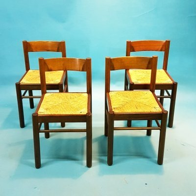 Set of 4 brutalist wood & rush dining chairs by Germal, Germany 1970s