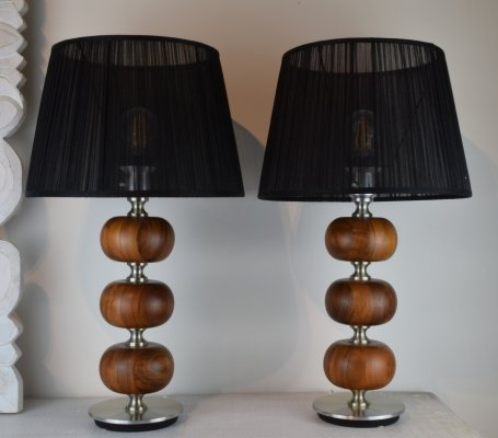 Henrik Blomqvist Table lights in Walnut & brushed aluminum finish, 1960's
