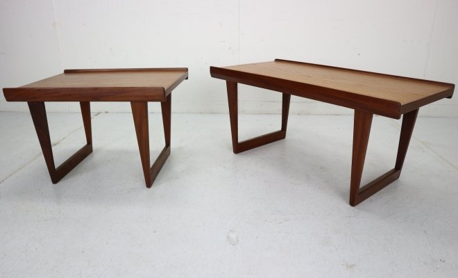 Set of 2 Teak Coffee Tables with Sled Legs by Peter Løvig Nielsen, Denmark 1967