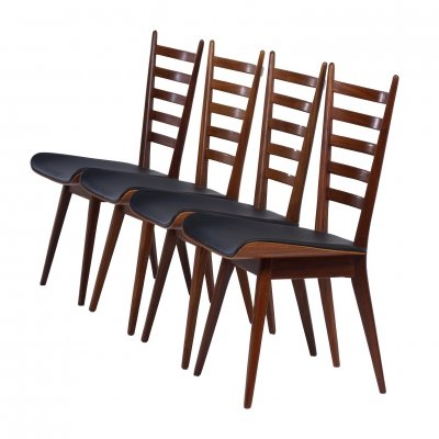 Set of 4 Teak & black leather Dining Chairs, 1960s