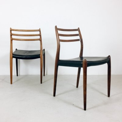 Set of 6 Niels O. Møller Palisander Dining Chairs Model 78, 1960s