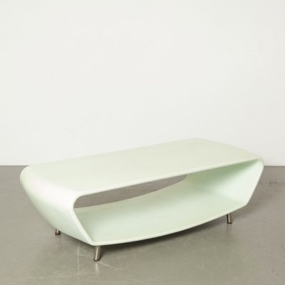 Mint green polyester / gelcoat coffee table