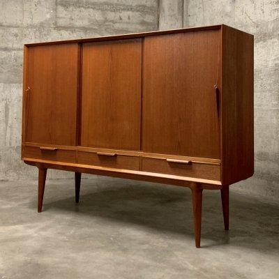 Omann Jun Teak Highboard / Credenza, 1960s