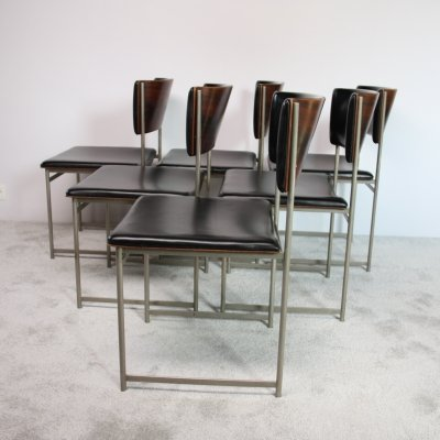 Set of 6 SM08 dining chairs in rosewood & black leather by Cees Braakman for Pastoe, 1950's