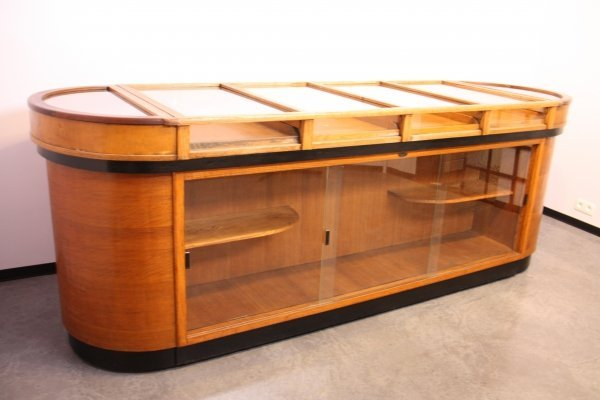 Large shop counter in wood & glass by B. Eikenaar, Belgium 1930's