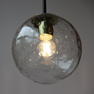 Raak Hanging lamp in mouth blown glass with drops, NL 1960's