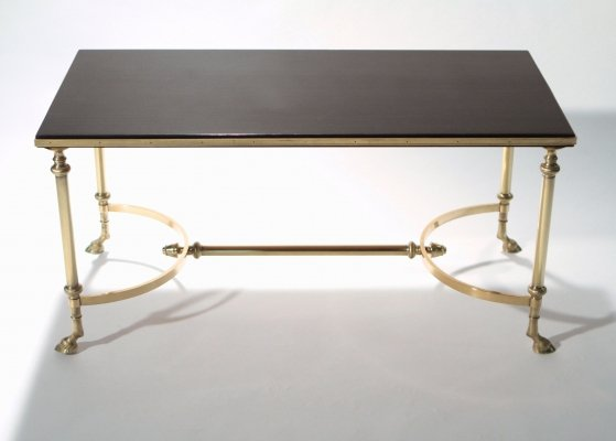 Neoclassical Maison Charles brass & lacquer coffee table, 1960s