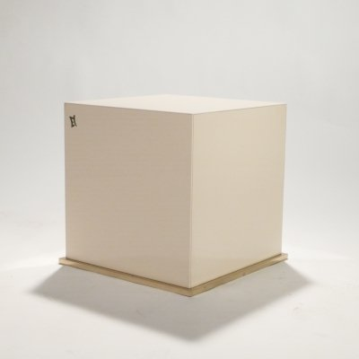 JC Mahey lacquer & brass cube side table, 1970s