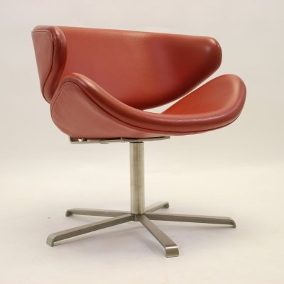 Red Leather Design Armchair, 1970s