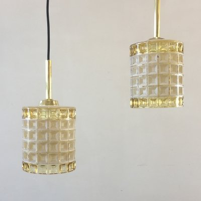 Set of 2 Danish glass hanging lamps, 1950s