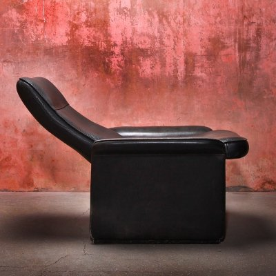 Adjustable De Sede DS 50 Black Neck Leather Lounge chair, 1970s