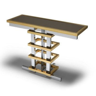 Brass & Chrome Console Table with Glass Top by Duchise, 1970's