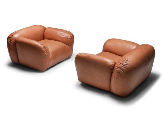 Postmodern Italian Natural Leather Lounge Chairs, 1980's