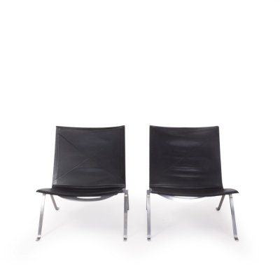 Pair of PK22 Lounge Chairs Poul Kjærholm for Fritz Hansen, 1990