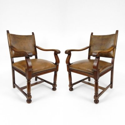 Pair of Dutch leather armchairs, 1940s