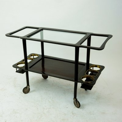 Italian Midcentury Mahogany, Glass & Brass Serving Cart