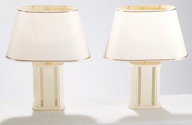 Pair of French J.C. Mahey lacquer & brass table lamps, 1970's
