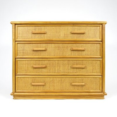 Dutch rattan chest of drawers, 1970s