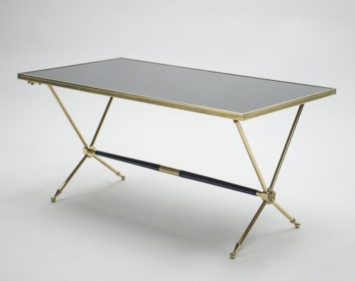 French Neoclassical Raphaël brass & opaline coffee table, 1960s