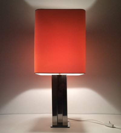 Midcentury Modern Design Metal Square Table Lamp, 1970's