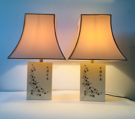 Pair of Hollywood Regency Style Jifu Table Lamps by Maison Le Dauphin, 1970's