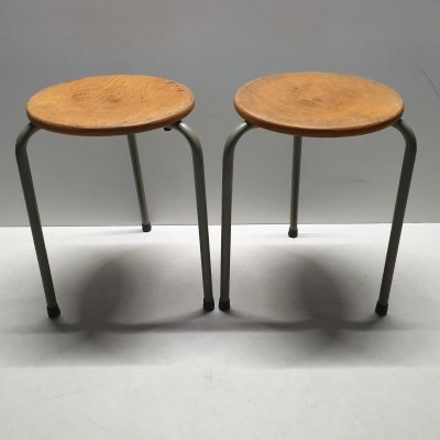 Vintage industrial stackable tripod stools, 1950s