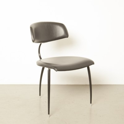Lande tripod chair in black leather, 1980s