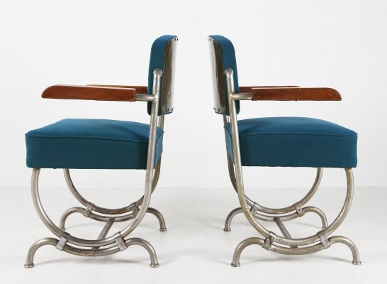 Blue Art Deco chairs, 1930s