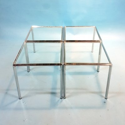 Set of 4 minimalist chrome & glass coffee tables, 1970s