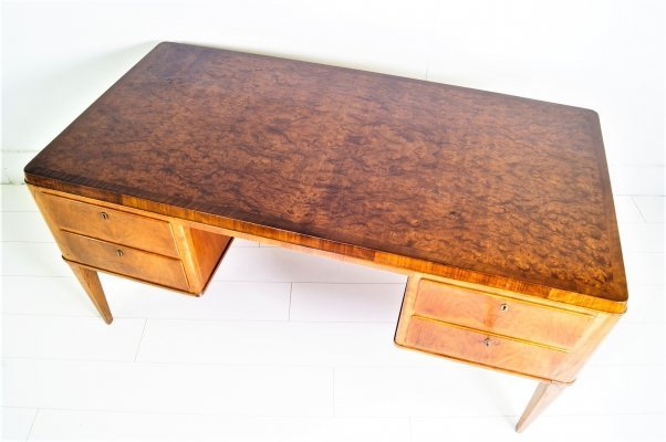 1930's Italian Walnut-top Double Piedestal Executive Desk