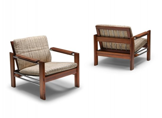 Walnut & Chrome Easy Chairs by Rob Parry for Gelderland