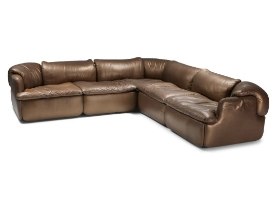Bronze Leather Saporiti 'Confidential' sectional sofa by Alberto Roselli