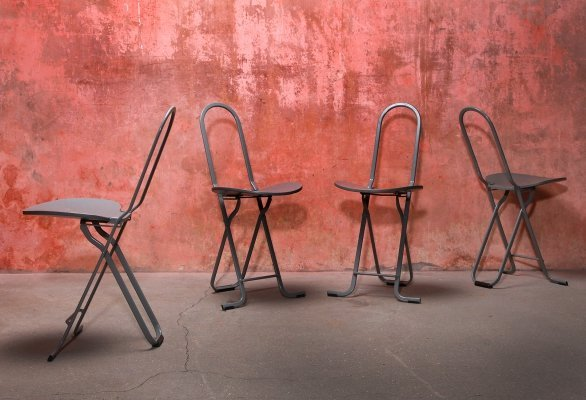 Set of Dafne Paperclip Folding Chairs by Gastone Rinaldi for Thema Italy, 1970s