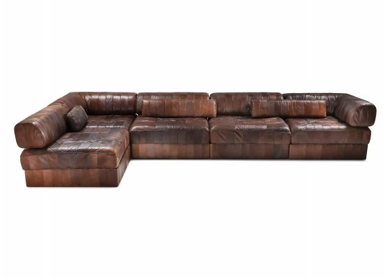Sectional Modular Sofa in Leather Patchwork by De Sede Switzerland, 1970's