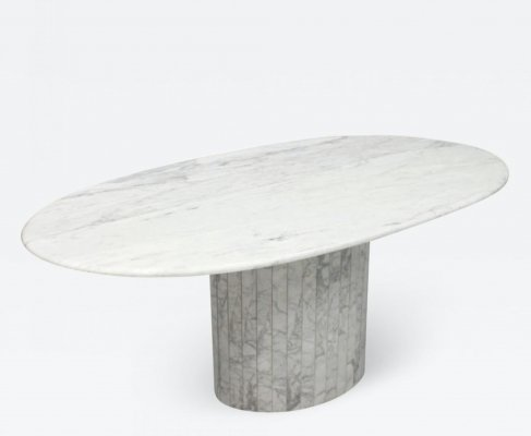 Oval Dining Table in White Carrara Marble, Italy 1970s