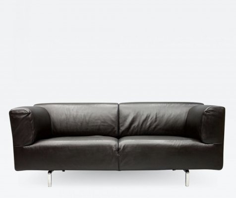 Dark Blue Leather Sofa 250MET by Piero Lissoni for Cassina, 1988
