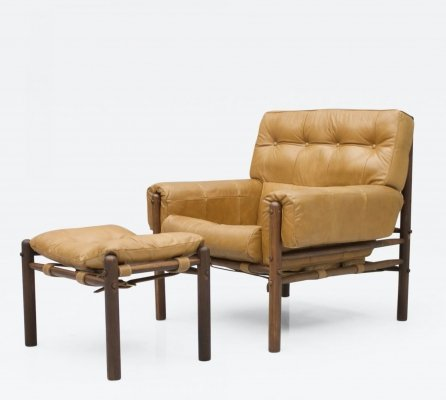 Lounge Chair with Ottoman in Cognac Leather & Rosewood, 1970s